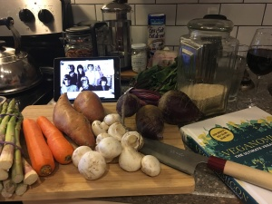 Veggies, witty vegan cookbook, and classic rock. Recipe for success!