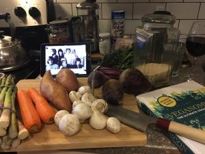 Veggies, witty vegan cookbook, and classic rock. Recipe for success!
